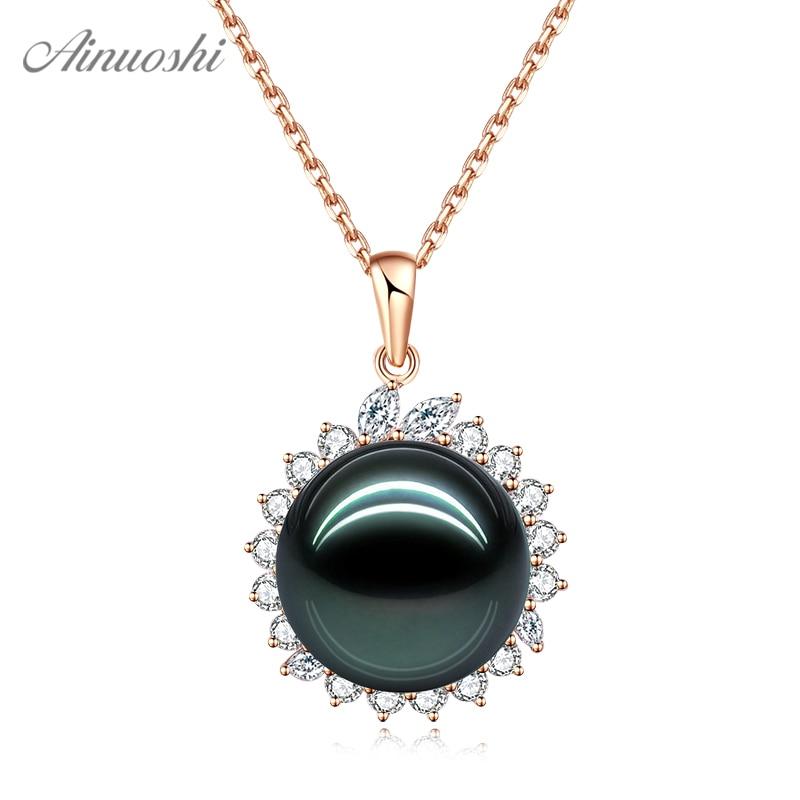 AINUOSHI 18K Gold Black Tahiti Pearl Pendant 18K White Gold/Yellow Gold/Rose Gold Diamond Pendant Jewelry Gift Separate Pendant