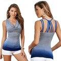 2016 Nueva Llegada Halter tops Europa Y Los Estados Unidos Sexy mujeres Top Azul Gris del Color del Golpe Moda Seda de La Leche Del Tanque de Camis Tops