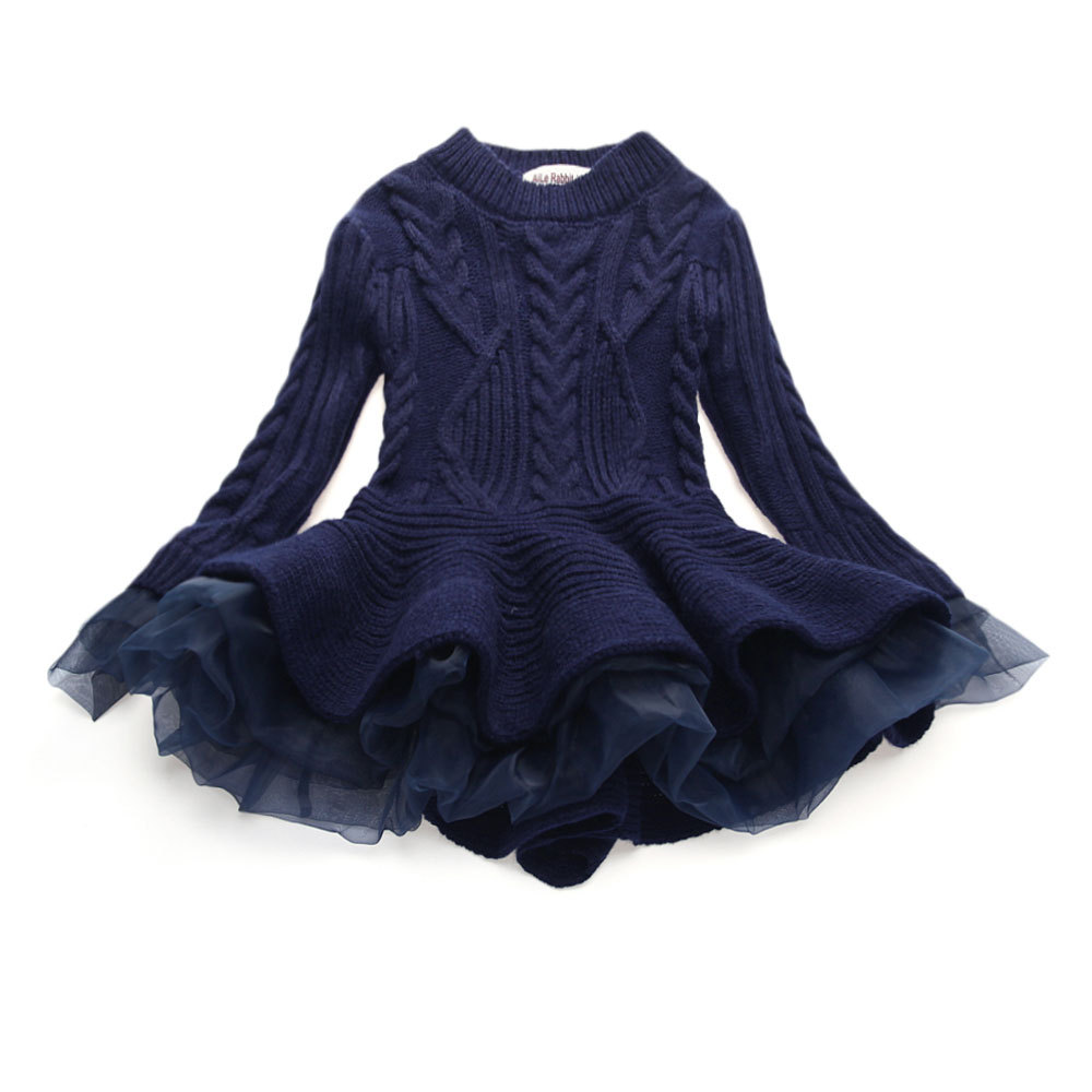 Spring Autumn 2018 Girls Thick Warm Dresses Princess Knitted Party Kids Sweater TuTu Dress Baby Kids Clothes Children Clothing korea lace knitted sweaters warm dresses winter baby wear clothes girls clothing sets children dress child clothing kids costume