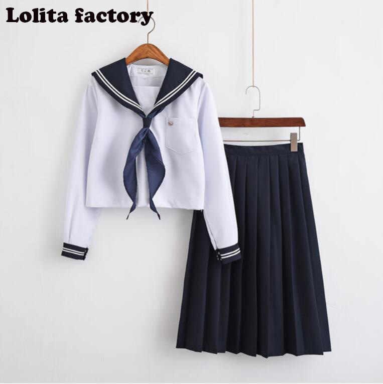 日本/韓国セーラースーツコスプレ衣装の学校の制服かわいい女の子 jk 学生服トップ + スカートロリータコスプレ JKN2101