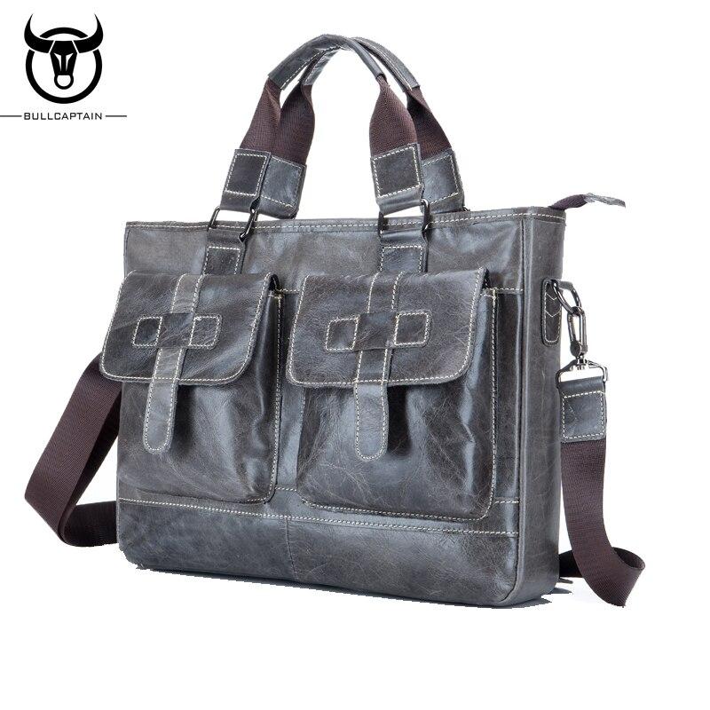BULL CAPTAIN MEN's LEATHER BRIEFCASE FOR BUSINESS fashion leather 14 inch laptop bag famous brand soft handle tote shoulder bag bull captain 2017 fashion genuine