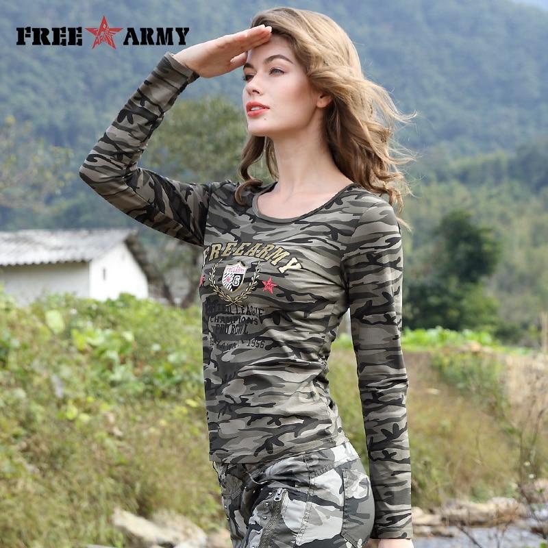 Merk T-shirt Lange mouw Dames Katoenen afdruk T-shirts Dames Tops Tees Militair Slanke Spandex Casual Camo t-shirt Dames Tops Tees