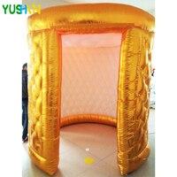 Золото или серебро надувные Photo booth фон для вечеринки стенд 2 двери с светодио дный топ с лямками надувные палатки для Свадебные украшения