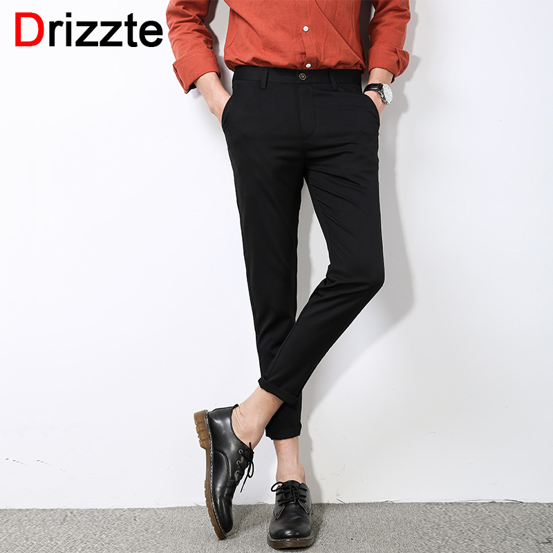 Drizzte Fashion Mens Stretch Ankle Length Dress Pants Work Slim