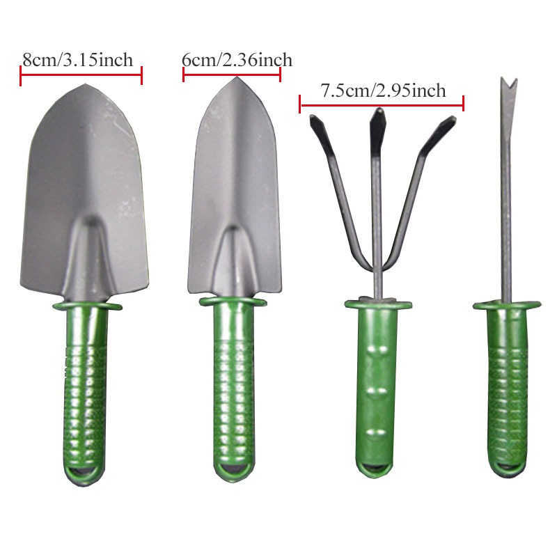4 pcs Gardening tool set combination flower planting shovel garden plastic handle four-piece flower shovel large three piece tool set gardening tools shovel rake hoe suits flower planting vegetables and flowers gardening