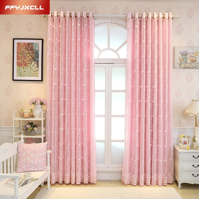 Finished Pink 1 PC Solid Color Curtain and 1 PC Embroidered Floral ...
