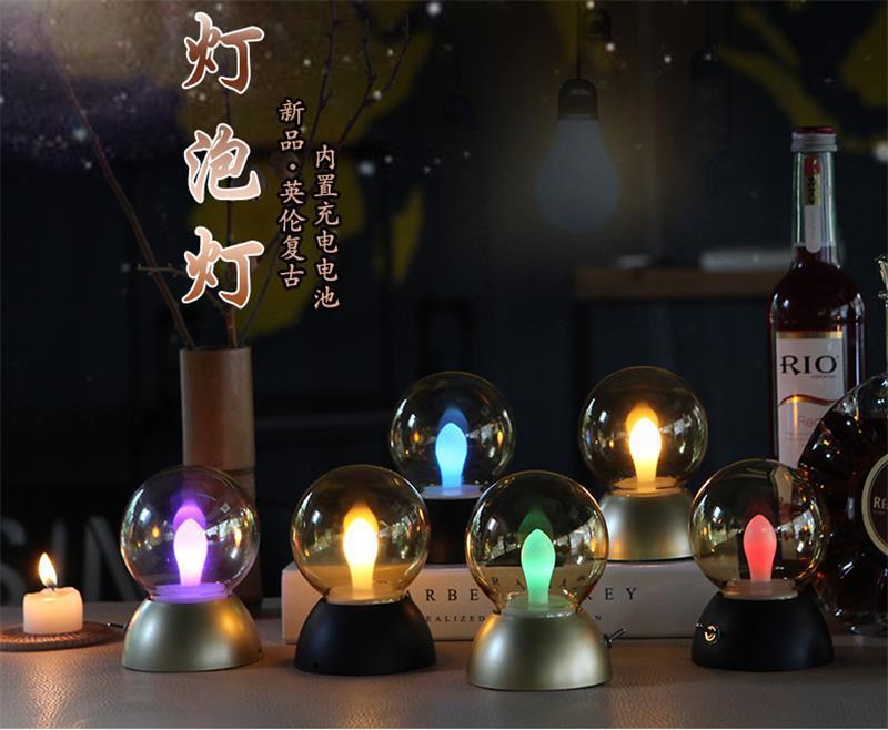 Lights & Lighting British Vintage Table Lamp Highlight Led Bulb Rechargeable Night Lights Retro Fashion Small Lamp Small Night Lamp