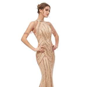 Image 4 - Женское вечернее платье в пол, элегантное роскошное длинное платье Русалка из фатина, вечерние платья в арабском стиле для выпускного вечера, WT5404