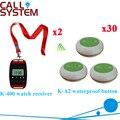 Número de Chamada Do Sistema de mesa Nova Chegada 433.92 MHZ Restaurante Pager Relógio Com O Botão CE Passado (2 + 30 relógio botão de chamada)