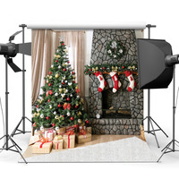 Fireplace Socks Gifts Decor Christmas Photography Backdrops For Photo Studio Backgrounds For Children Baby Party Photo
