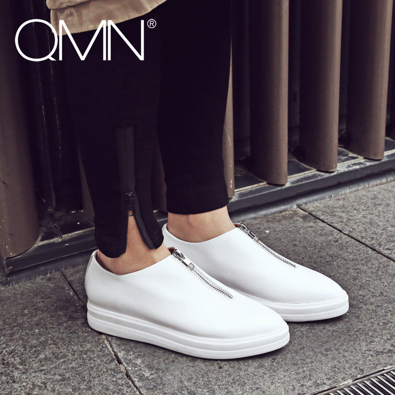 QMN women genuine leather platform flats Women Pointed Toe Loafers Slip On Casual Shoes Woman 2017 New Natural Leather Loafers  qmn women genuine leather flats women horsehair loafers retro square toe slip on flat platform shoes woman creepers 34 42