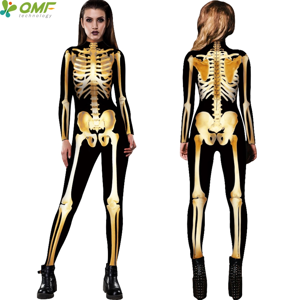 golden skeleton cosplay swimwear one piece bodysuit halloween party costume jumpsuits harajuku skull bones women swimsuit - Halloween Swimsuit