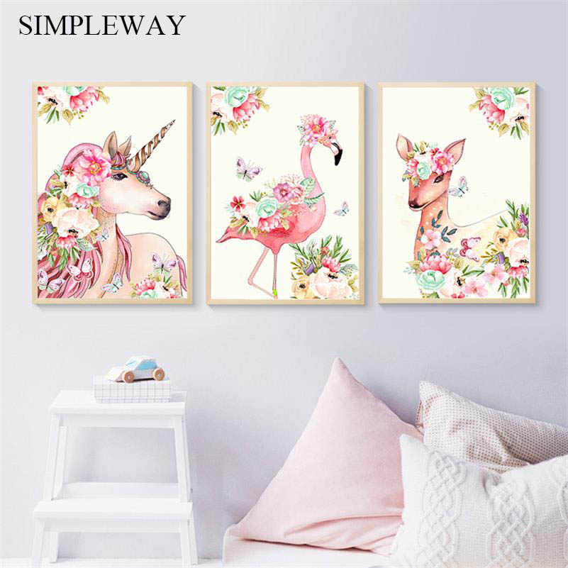 Flower Unicorn Flamingo Canvas Poster Wall Art Nursery Print Canvas Painting Nordic Decorative Picture Baby Bedroom Decoration