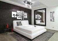 Handgeschilderd 4 stuk zwart wit moderne abstracte olieverfschilderijen op canvas muur vogels boom pictures voor woonkamer home decor