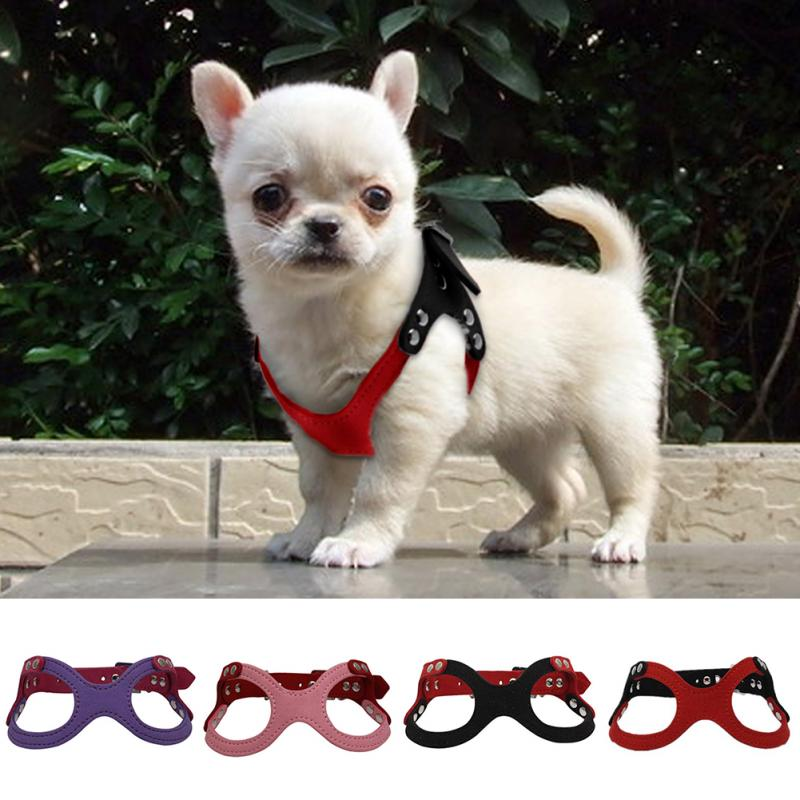 Pet Dog Harness Soft SuedeSmall Dog Harness for Puppies Chihuahua Adjustable Chest Strap
