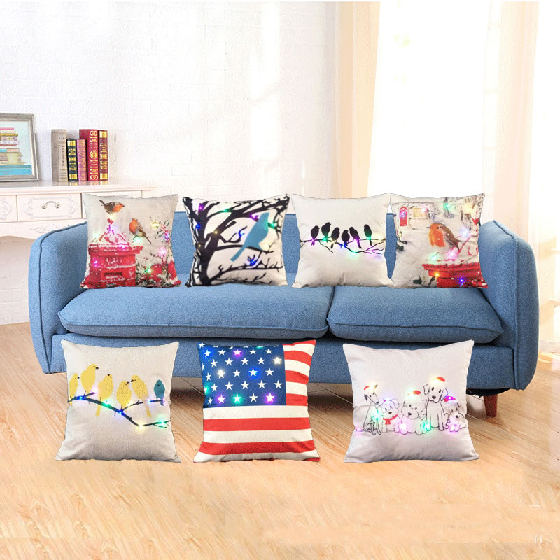 Colorful Light Cushion Cover Merry Christmas Glow Throw Pillow Case Flax Square Cushion Pillowcase Home Textile F