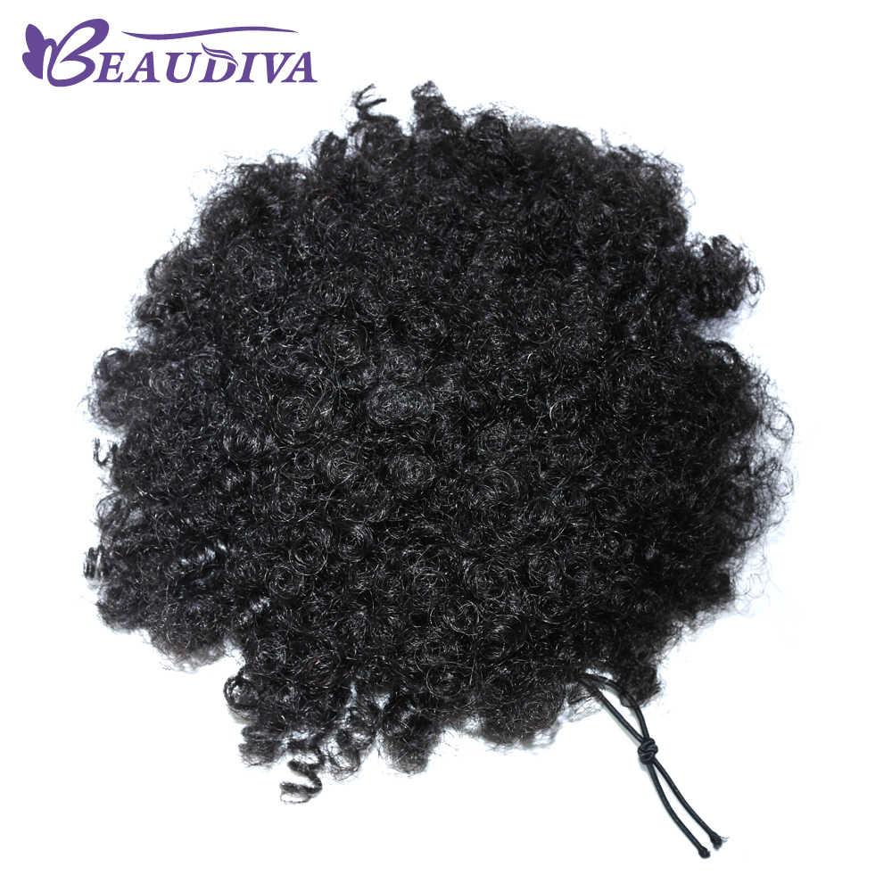 Бразильский афро кудрявый конский хвост для женщин натуральные черные волосы Remy Клип В хвосты шнурок 100% человеческих волос расширение