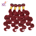 "Grade 7A Red Brazilian Virgin Hair Body Wave 4pcs Lot Burgundy #99J mega hair extensions 10""-32"" ocean wavy double wefts Hair"