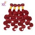 """Grado 7A Rojo Brasileño Virgin Hair Body Wave 4 unids Mucho Borgoña # 99J extensiones de cabello mega 10 """"-32"""" mar ondulado doble tramas Del Pelo"""