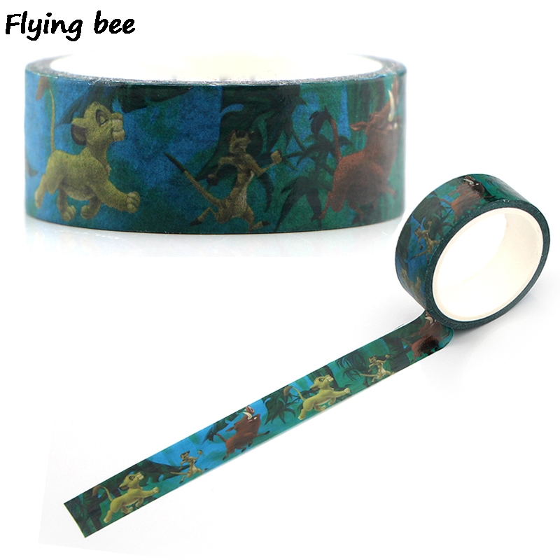 Flyingbee 15mmX5m Paper Washi Tape Lion Cartoon Adhesive Tape DIY Kids Scrapbooking Sticker Label Masking Tape X0346