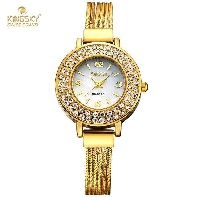 1e794a51600cb Kingsky Luxury Women Watch Famous Brands Gold Fashion Design Bracelet  Watches Ladies Gold Bracelets Watches Relogio