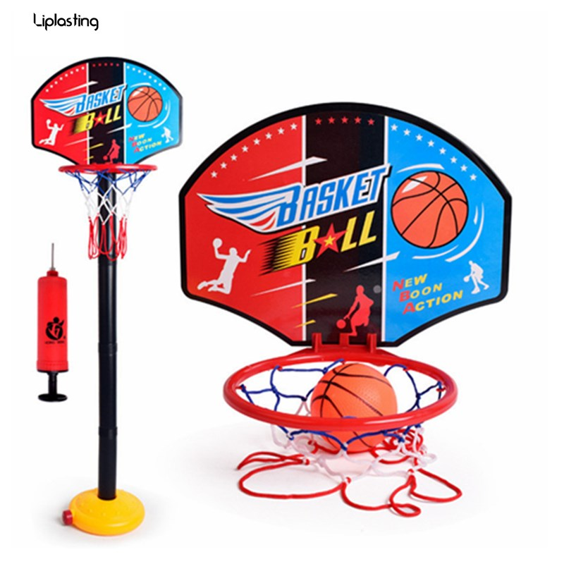 Outdoor Indoor Portable Fun Baby Adjustable Basketball Hoop Inflation Basketball Sport Train Toy Set Stand