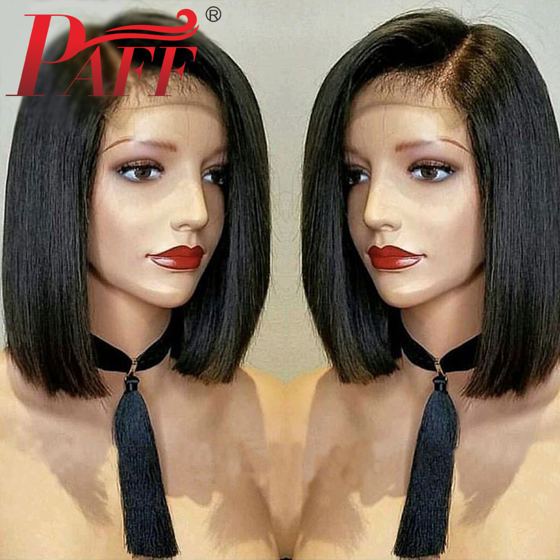 PAFF Short Bob 4 4 Silk Top Lace Front Human Hair Wigs Straight With Baby Hair