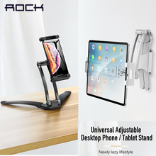 hot deal buy rock universal adjustable desktop holders phone tablet stands for ipad air 2 3 4 5 mini 1 2 3 4 lazy lifestyle tablet pc holders