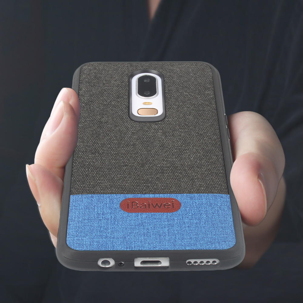 Oneplus 6 Fashion Cloth Case For OnePlus 6 Fabric Case Back Cover Silicone Edge Drop-Resistant Oneplus 6 phone Case Business