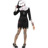 Новое Прибытие Хэллоуин Горячей Сексуальное Черное Мини-Платье с Кровью Монахиня Костюмы Для Женщин Хэллоуин Косплей Костюм Зомби