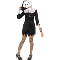 New Arrival Halloween Hot Sexy Black Mini Dress with Blood Nun Costumes For Women Halloween Cosplay Zombie Costume