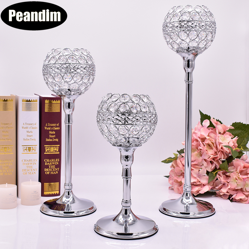 PEANDIM Floor Standing Candle Holders Set 3pcs/Lot Crystal Candlestick Shiny Silver Plated Party Table Wedding Centerpieces