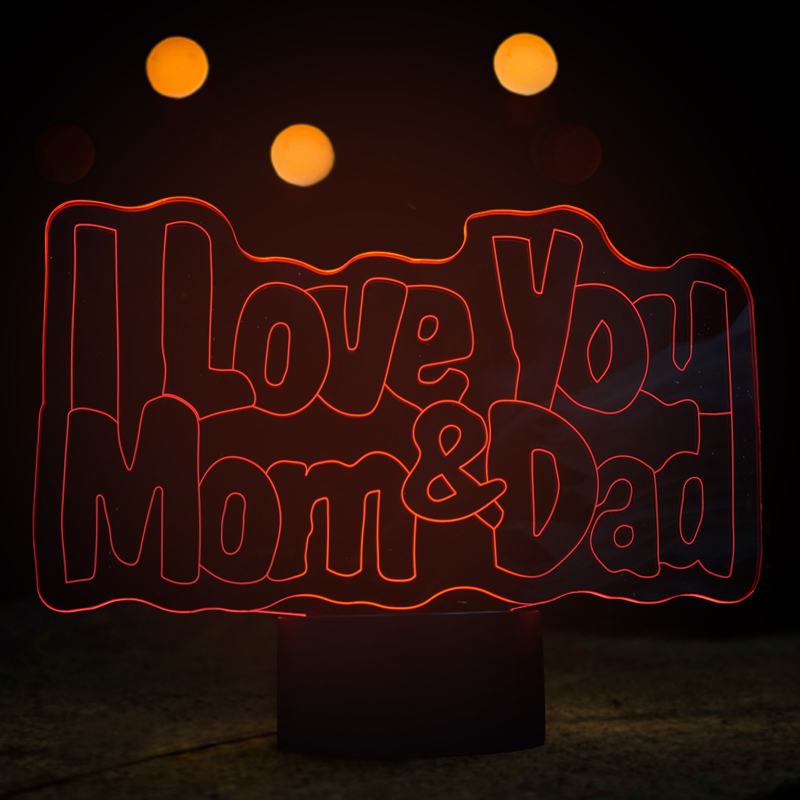 Beautiful 3D Visual LED Night Lights with I LOVE YOU Mom&Dad Shape LED USB Colorful Lamp for Parents Holiday Gifts