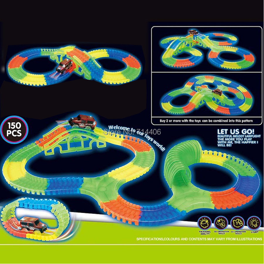 150PCS track car assembley building blocks set toy,electric car&LED flexible&glow race track roll up funny game for kid glow race track bend flex glow in the dark assembly toy 112 160 256 300pcs slot race track 1pc led car puzzle educational toys