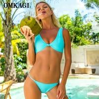 OMKAGI Bikinis 2017 Swimsuit Women Low Waist Swimwear For Beachwear Solid Bathing Suit Push Up Biquini