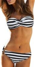 Sexy Women Vintage Dotted Bottom Print Padded Bra Top Bikini Set  Low Waist Beachwear Navy stripe Swimsuit Swimwear