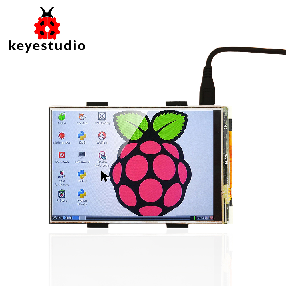 Keyestudio <font><b>TFT</b></font> LCD Display 3.5 Inch <font><b>480x320</b></font> 16-bit <font><b>TFT</b></font> <font><b>Touch</b></font> Screen LCD Shield for Raspberry Pi 4B Module image
