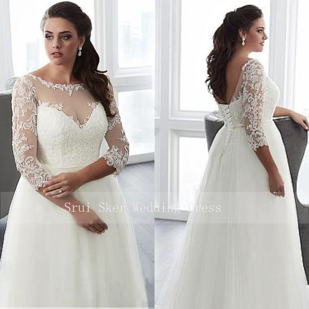 Charming Plus Size Long Sleeve Wedding Dress Sexy V Back with Lace up Illusion Design Appliuqes