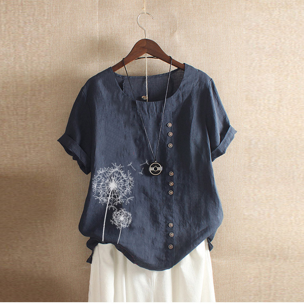 Boho Shirt Button Short-Sleeve Flower-Print Loose Casual Plus-Size Summer O-Neck