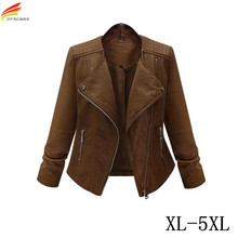 Woman Winter Coats And Jackets 2017 New Arrival Euro Style Casual Snake Skin Zipper Rider Leather Jacket 5XL Bomber Jacket(China)