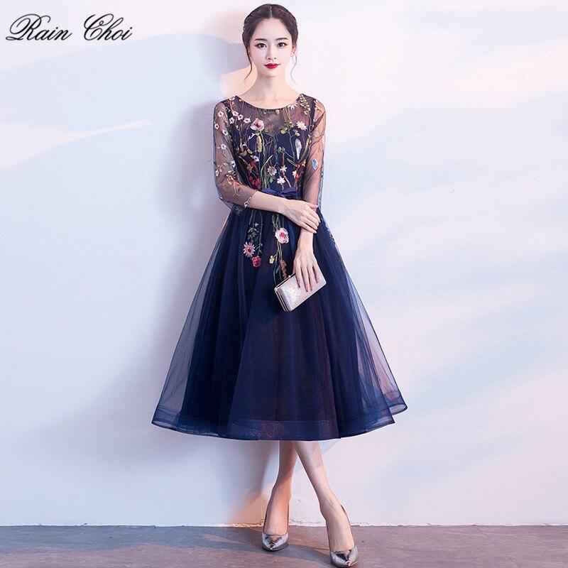 Elegante Cocktail Kleid 2019 Blume Stickerei Kurze Abend Party Kleider