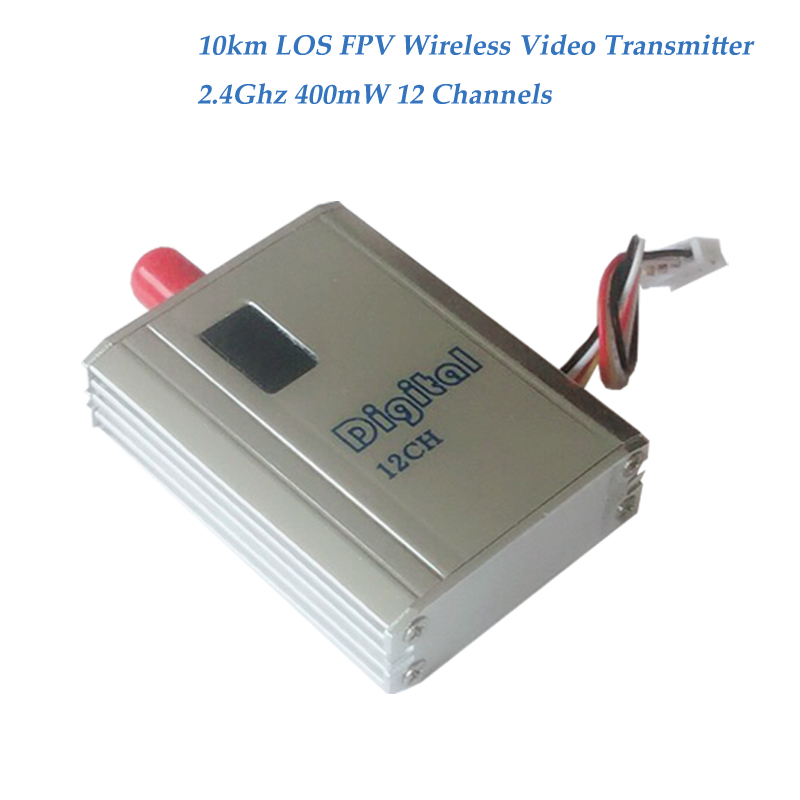 10km LOS FPV Wireless Transmitter and Receiver 2.4GHz Wireless Video Transmitter Lightweith UAV Video Sender with 400mW, 12CHs