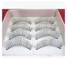 Free shipping  hot sale 10Pairs Hand made full strip Fake False Eyelashes Natural Long Look Cotton Stem 219 Beauty Health Makeup