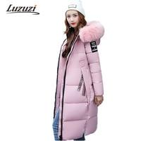 2017 Long Winter Jackets Women Winter Coats Fur Hood Female Down Park Cotton Padded Parka Ladies