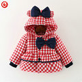 Baby Girls Winter Bow Coats Kids Hoodies Plaid Warm Snowear Clothes Infant Girl Princess Jackets&Parkas Clothing 2016