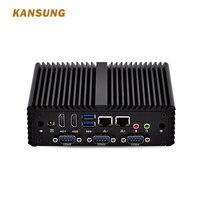 Win 10 Hot Sale Linux Firewall Fanless I5 I7 Mini Pc Barebone 4 Com Desktop Computer