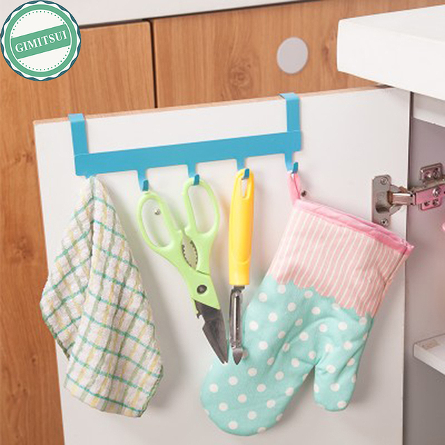 5 Hooks Over Closet Door Cabinet Hanger Over Door Kitchen Towel
