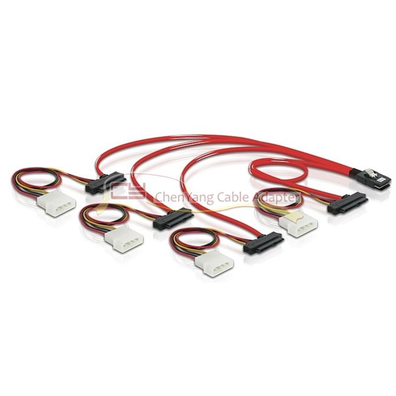 "4-Pin Power Cable 20/"" Mini SAS 36-Pin SFF-8087 Male to SFF-8482 29-Pin Female"