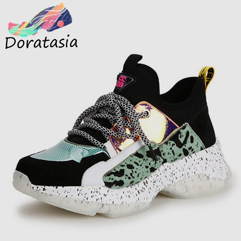 DORATASIA 2019 nouveau automne été INS Hot femmes baskets en cuir de vache daim grande taille 35-42 décontracté femmes chaussures en crin de cheval femme