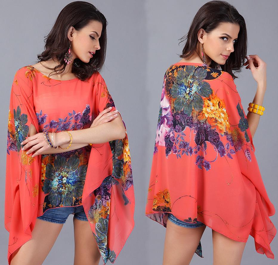 Lady Summer dress Wanita longgar floral print Kasual chiffon dress - Pakaian Wanita - Foto 3